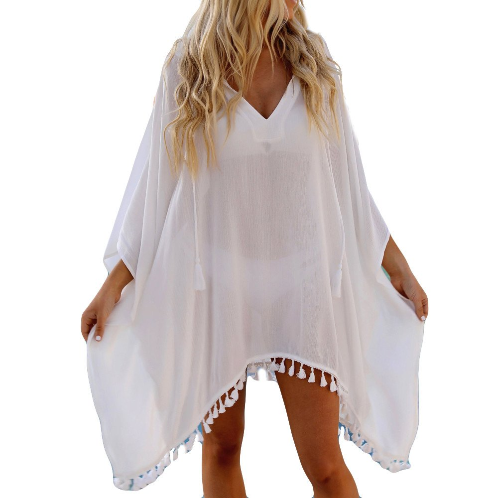 a1d4d5477b7 Women s Chiffon Hooded Cover Up Tassel Bohemia Smock Sexy Long Sleeve Print  Split Maxi Short Dress Sundress Smock Bathing Suit Beach Bikini Swimsuit  Kimono ...