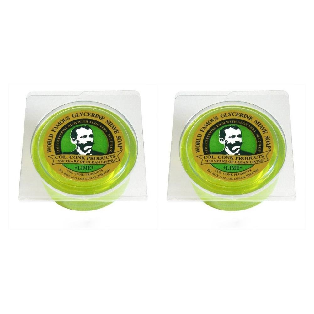 Col. Conk Lime Glycerine Shave Soap 2.25 oz. (Pack of 2) Col.Conk