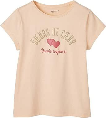 VERTBAUDET Camiseta para niña con Mensaje Divertido Rosa Fuerte Liso con Motivos