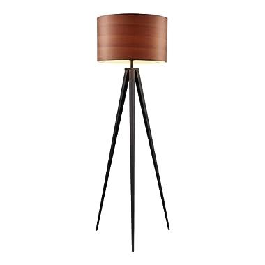 Versanora VN-L00049 Hamilton Floor Lamp - Wood Grain Shade/Black Finished Leg,