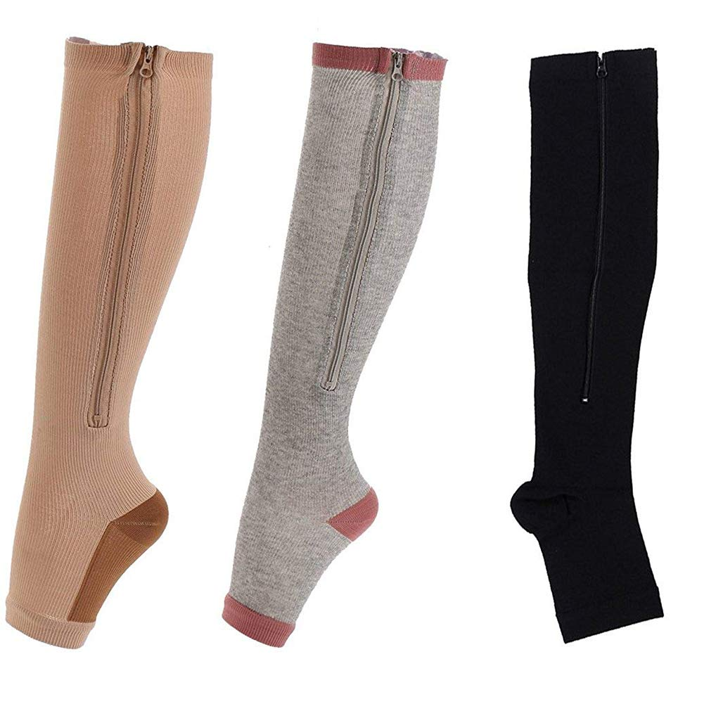 Easy On Zip compression Socks For Men Women With Toe Open Design Zipper Leg Support Knee-High Stockings-3Pair by Minghe