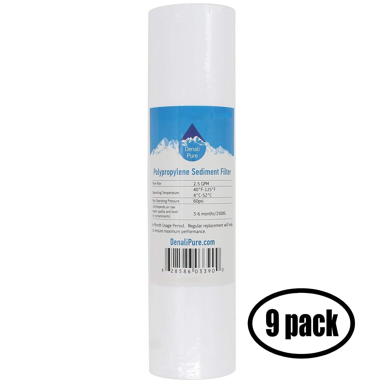 9-Pack repuesto Pureza cautiva CP1133polipropileno cartucho de filtro de sedimento–Universal 25,4cm 5-micron para Pureza cautiva Deluxe de 75GPD RO sistema de filtro–Denali Pure marca