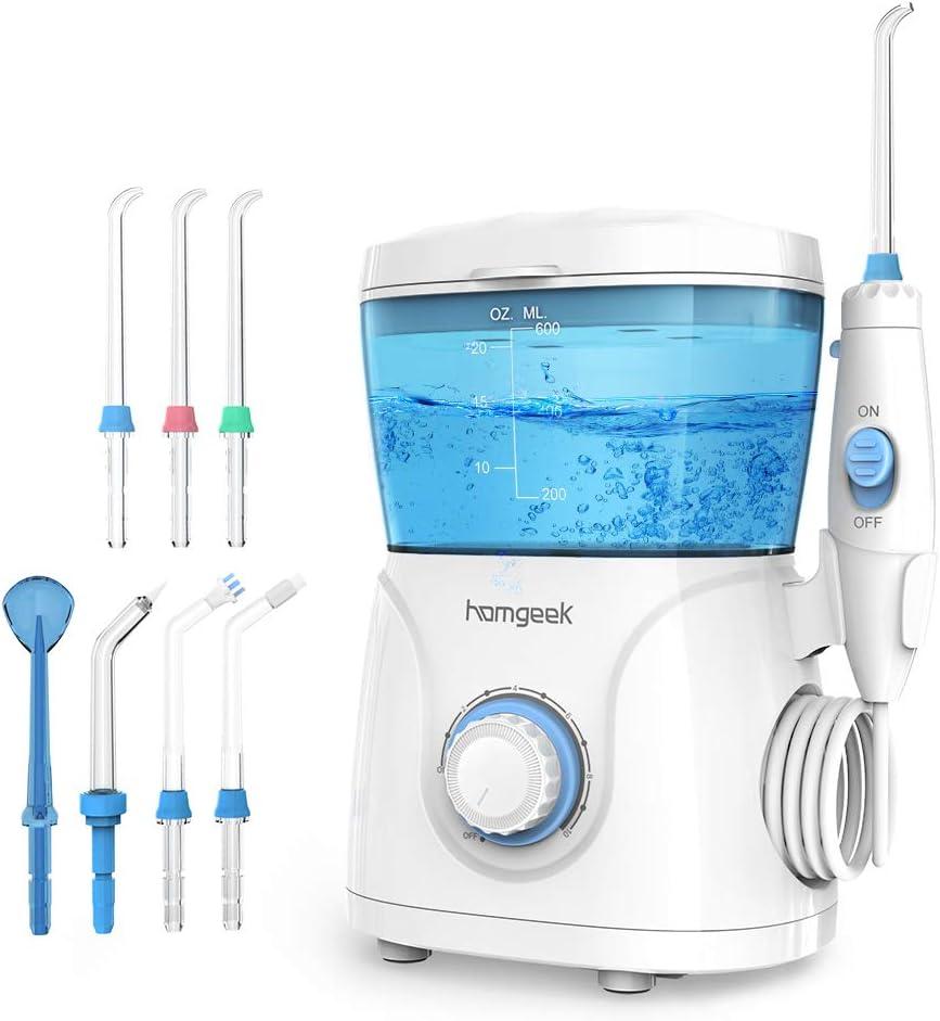 Homgeek Upgrade Water Flosser,Oral Irrigator,Dental Water Flosser,Anti Leakage Water Flosser for Braces Teeth Cleaner Dental Water Teeth 10 Adjustable Pressure with 7 Multifunctional Tips: Home & Kitchen