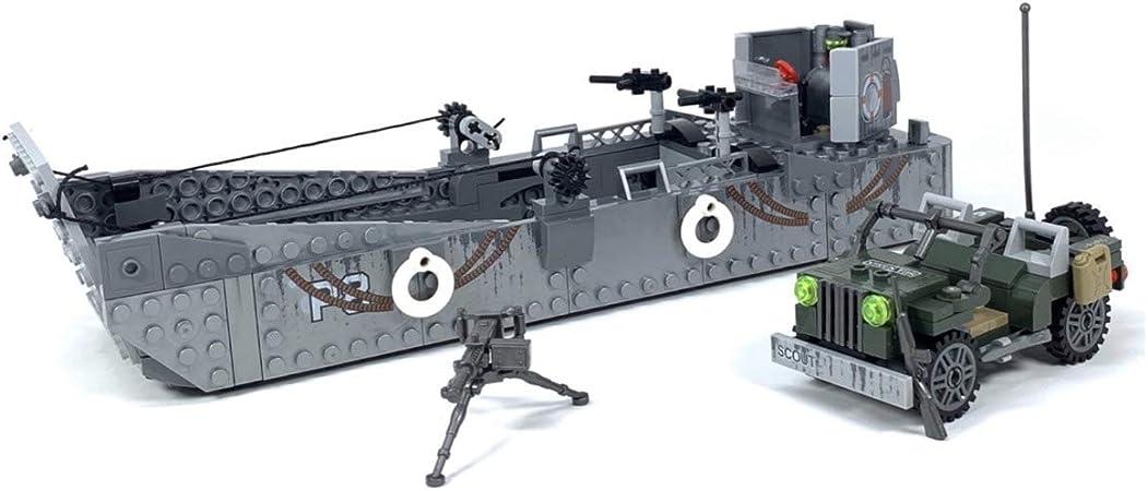 General Jim's WW2 Military Landing Craft Brick Building Toy Set + Vehicle Building Blocks World War 2 D-Day Model Set