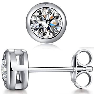 cz small halo stud white in diamond earrings mm gold l