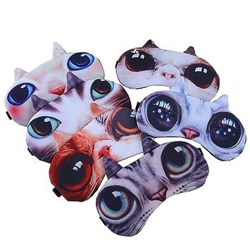 27adbcffe66 Amazon.com  Deercon Pack of 6 Cute Cat Sleeping Eye Mask Snoring ...
