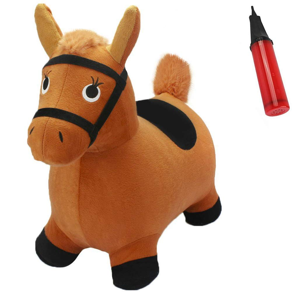 iPlay, iLearn Brown Hopping Horse Activity Toy, Outdoors Ride on Bouncy Animal Play Toys, Inflatable Hopper Plush Covered with Pump, Jumping Gifts for 2, 3, 4, 5 Year Olds, Kids Toddlers Boys Girls by iPlay, iLearn