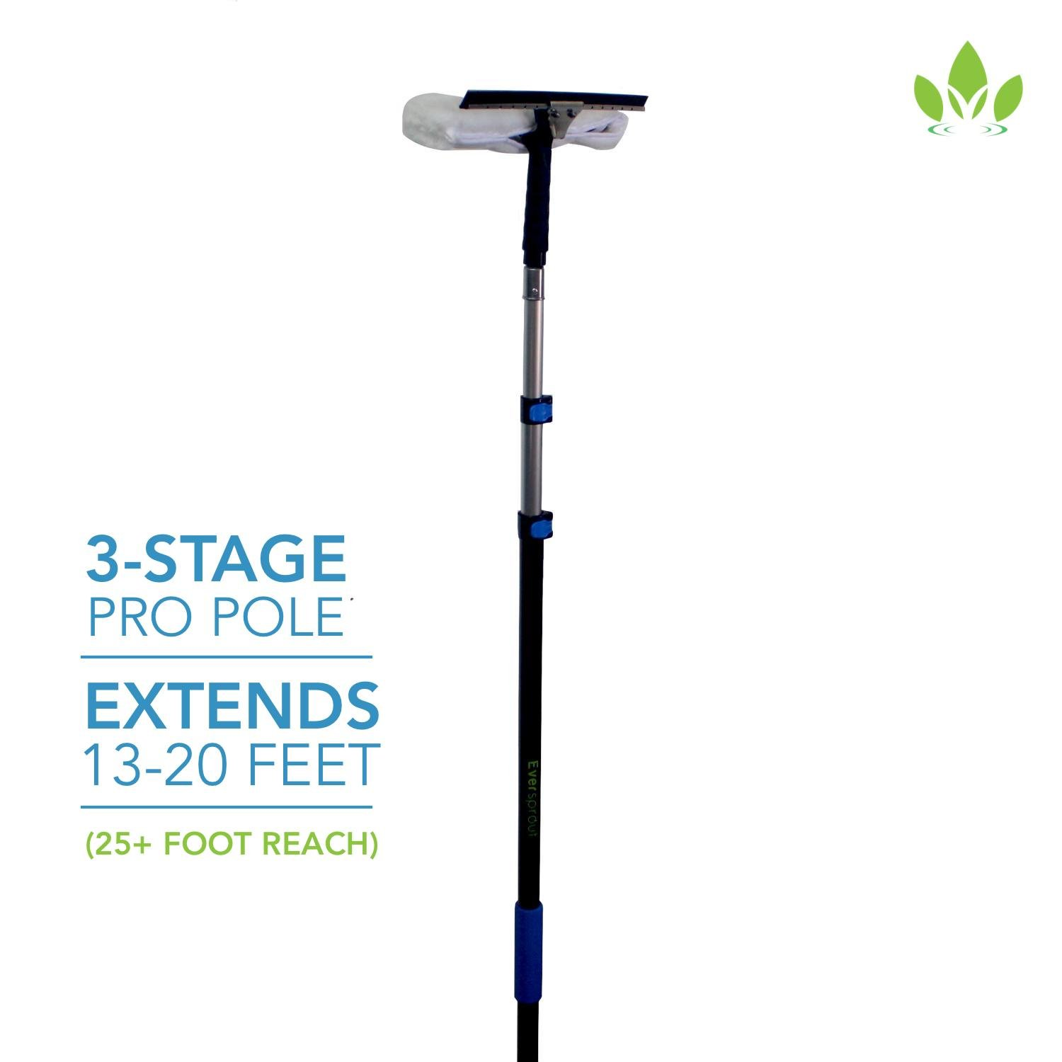 EVERSPROUT Pro-Series 7-to-20 Foot Squeegee Window Scrubber (25+ Ft. Reach) | 2-in-1 Window Cleaning Combo | Extra-Wide 16'' Squeegee with Light-Weight, Aluminum Extension Pole by Eversprout (Image #2)