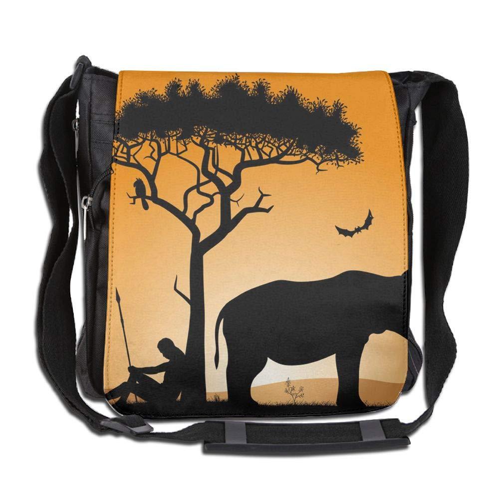 SARA NELL Messenger Bag,african Hunter And Rhinoceros In The Sunset,Unisex Shoulder Backpack Cross-body Sling Bag