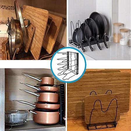 Organizador de tapa de olla, soporte para utensilios de horno, estante de almacenamiento para tapa, estante organizador para sartenes, parrilla y tapa de ...