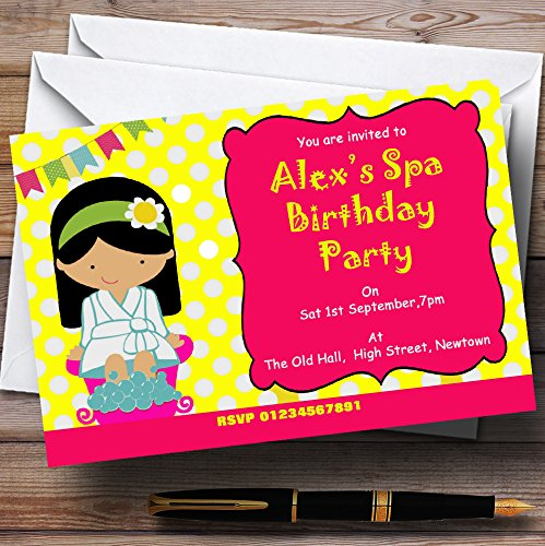 Yellow And Pink Spa Makeover Nail Theme Personalized Birthday Party Invitations