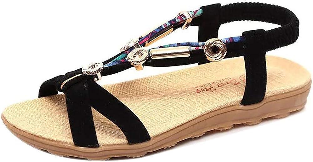 Alaso Sandales Plates Femmes Pas Cher Femmes Ethnique Style Sandale De Plage de Ville /Ét/é /à Talons Plats Tongs Claquettes Chaussures