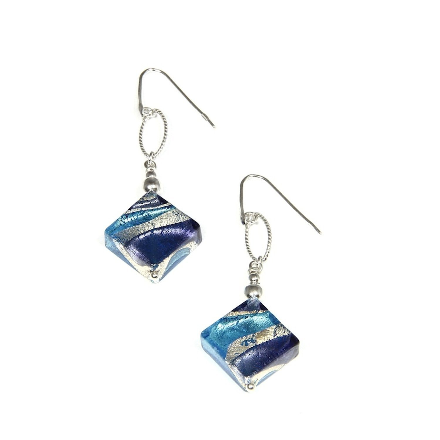 Sterling Silver Rhodium-plated Blue /& Gold Color Italian Murano Earrings