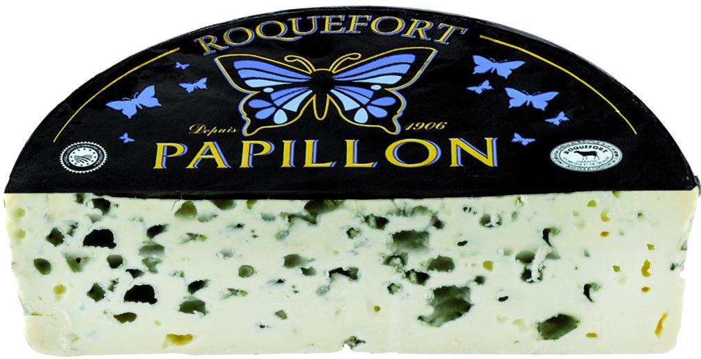 Papillon Roquefort Black Label A.O.C Blue Cheese (1 Pound Piece)
