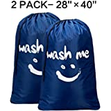 BGTREND Large Cartoon Laundry Bag Draw String, Jumbo Size [28''×40''], Printed Wash Me, Blue