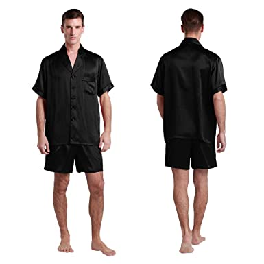 48bbf8843c LilySilk Black Short Silk Pajamas for Men Genuine Pure Real Mulberry 100 22  Momme Designer Soft