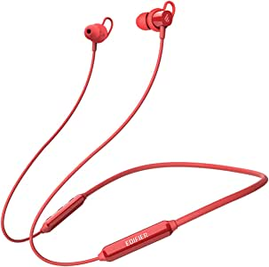 Edifier Bluetooth Headphones, 7 Hours Playback Bluetooth 5.0 Wireless Sports Earphones, IPX5 Sweat and Water Resistant, CVC Noise Cancelling mic, Red