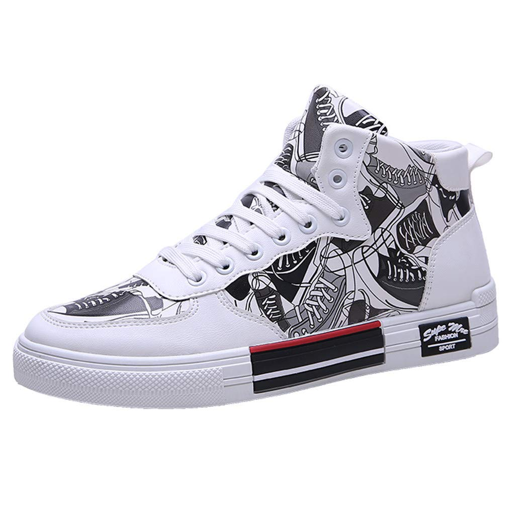 Mens Fashion Graffiti Sneakers Hip Hop Canvas Breathable Comfortable High-Top Casual Shoes Outdoor Shoes for Mens White by F_Gotal Shoes