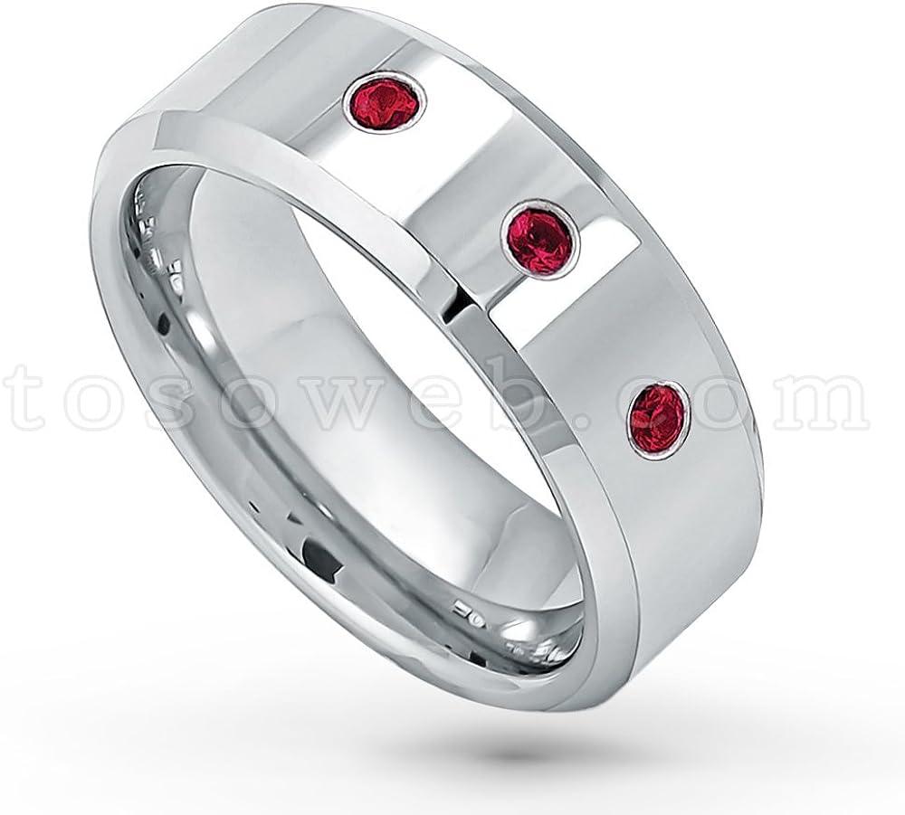 April Birthstone Ring 8MM Brushed Finish Comfort Fit Beveled Edge White Wedding Band 0.21ctw Black Diamond 3-Stone Titanium Ring