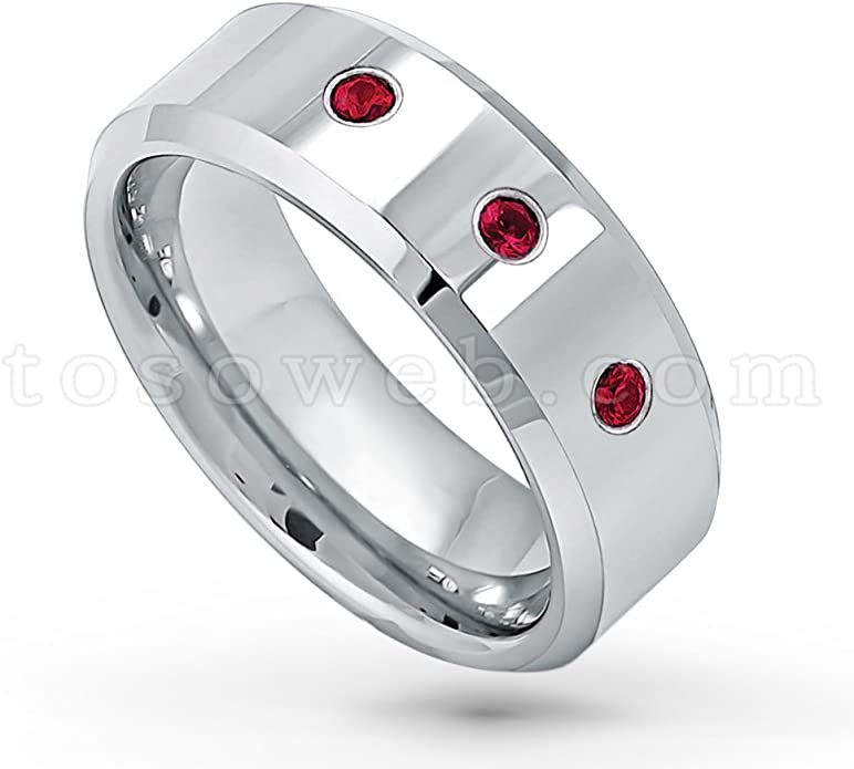 8mm Matte Finish Black Ion Plated Comfort Fit Titanium Wedding Ring January Birthstone Ring 0.07ct Garnet Solitaire Band