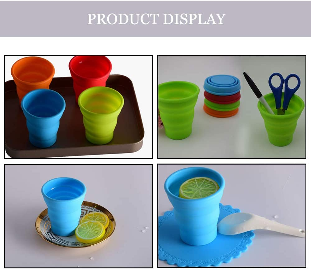 DAZISEN Camping Folding Cup Portable Travel Silicone Mug Outdoor Sports Stretching Cup Candy Color