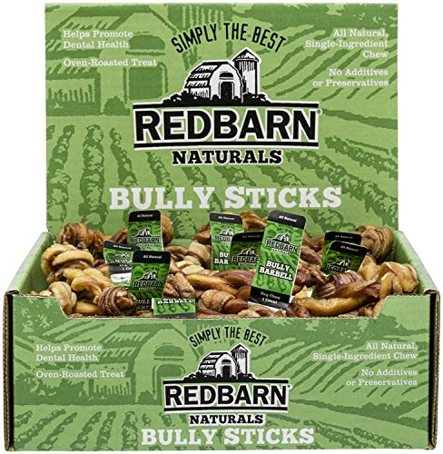 - REDBARN Mini Bully Barbell, 5 Inch, Naturals, 50 Count