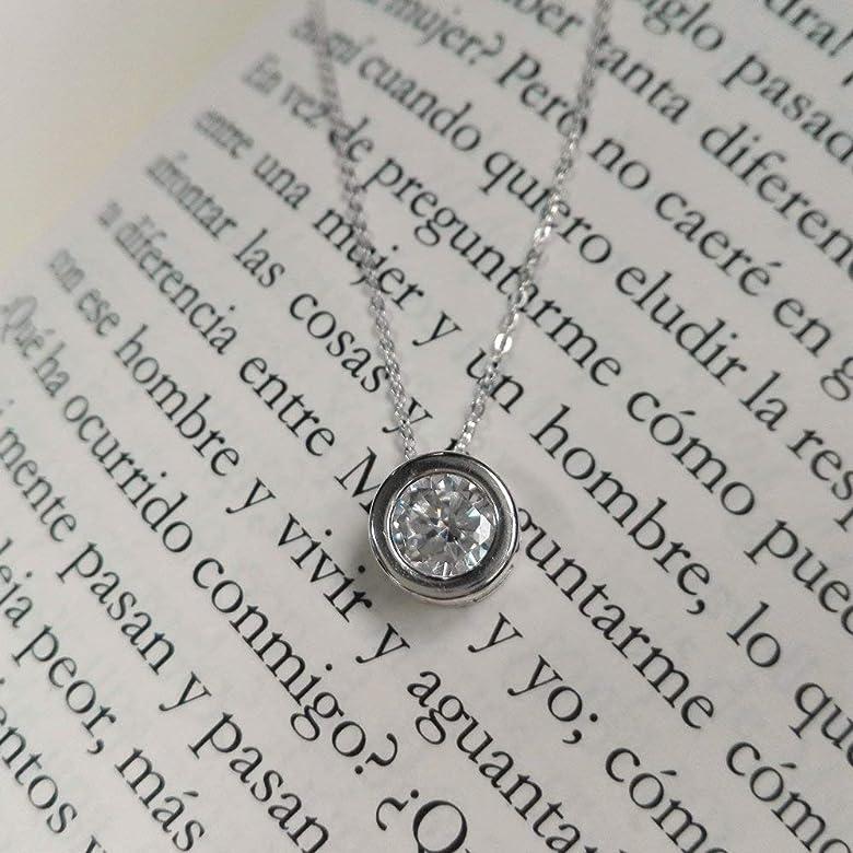 Alylosilver Collar Colgante de Plata con Circonita para Mujer - 5 mm Diametro - Incluye Cadena de Plata de 40 cm y Estuche para Regalo.: Amazon.es: Joyería