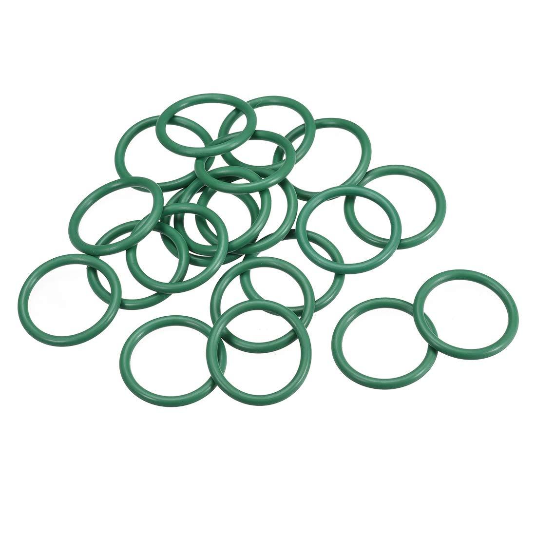 38mm OD 31.8mm Inner Diameter 3.1mm Width Seal Gasket Green 20Pcs uxcell Fluorine Rubber O Rings
