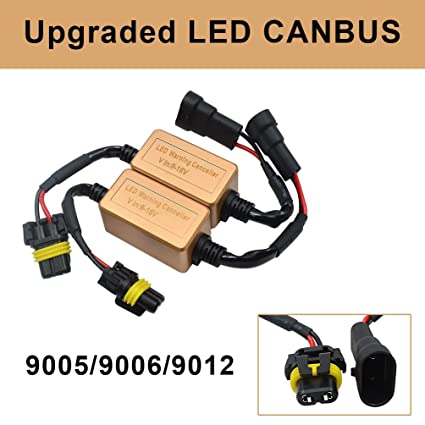 9005 HB3 9006 HB4 9012 LED Headlight Kit Anti-flicker Canbus Adapters  Computer Warning Error Free Canceller Resistor,Wiring Harness,Plug & Play