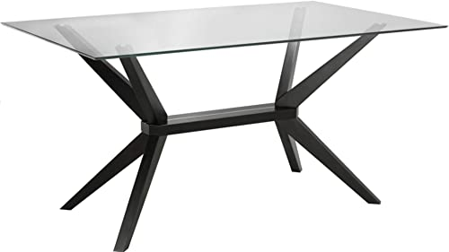 Uptown Club Vanora Collection Modern Tempered Glass Top Long Dining Table, 63 L x 35.4 W x 29.5 H, Dark Walnut