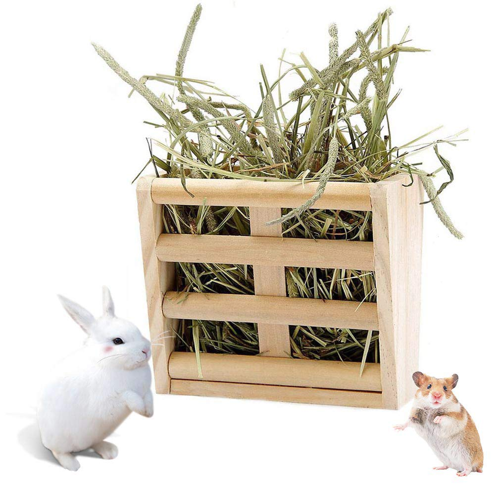 BLSMU Chinchilla Hay Rack,Bunny Hay Feeder,Guinea Pig Hay Holder,Rabbit Food Dispenser,Natural Wooden,Hamster,Rabbit Cage Accessories by BLSMU