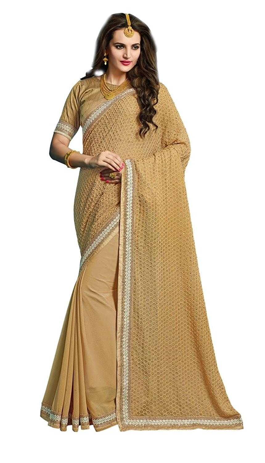 EthnicWear New Designer Embroidered Party Women Wear Beige Sarees