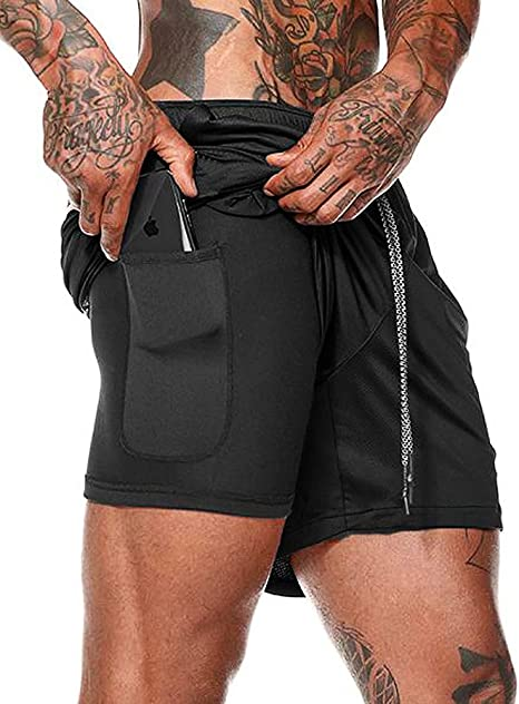FLYFIREFLY Mens 2-in-1 Workout Running Shorts 7