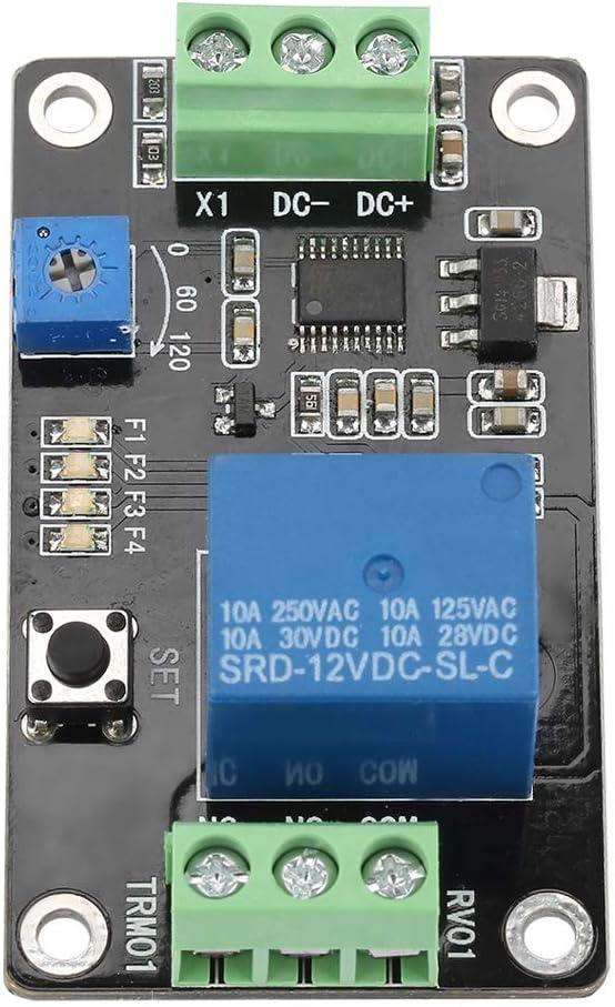 TRM01 Relé del temporizador de retardo, Multi-funcional Retardo de autobloqueo Relé de encendido/apagado Disparo del temporizador de disparo Retardo DC 5V / 12V / 24V (opcional) 0.1-120s(DC12V)