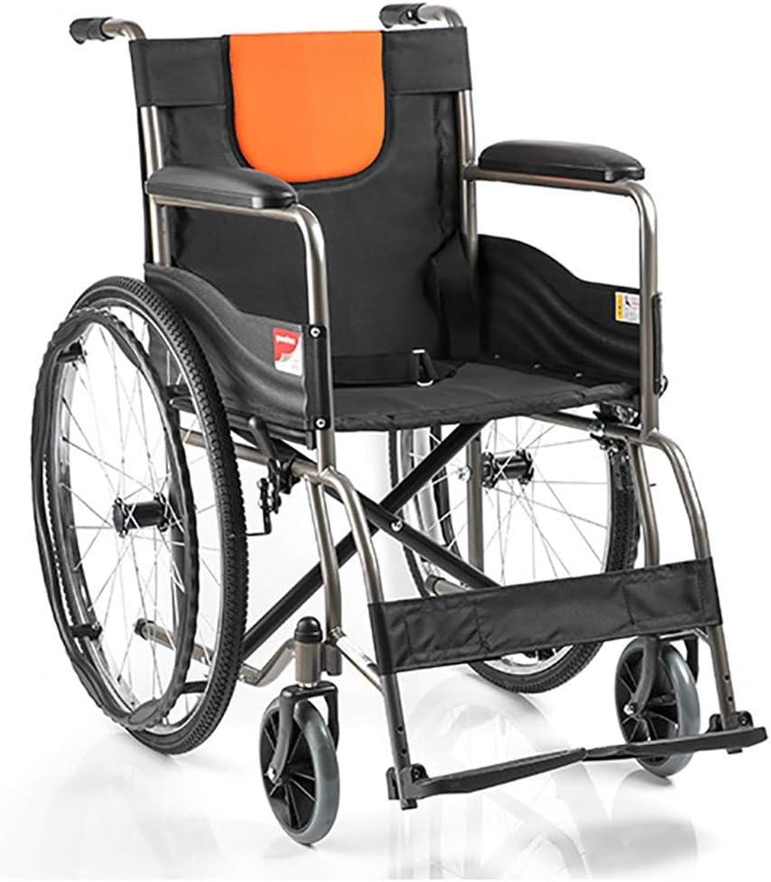 KY Sillas de ruedas eléctricas Silla de ruedas, tubo de acero del hogar reforzado plegable neumático de la silla de ruedas manual Silla de ruedas: Amazon.es: Salud y cuidado personal