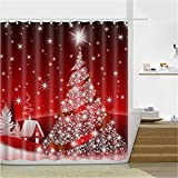 """3D Printed Merry Christmas Tree Background Waterproof Shower Curtain/Bath Curtain--Size: 66"""" x 72"""""""