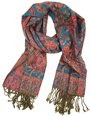 Plum Feathers Tapestry Ethnic Paisley Pattern Pashmina Scarf (Turquoise-Red Tapestry) (Turquoise Paisley)