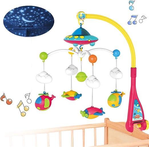 HBIAO Juguete móvil de Cuna Musical para bebés con Luces y música ...