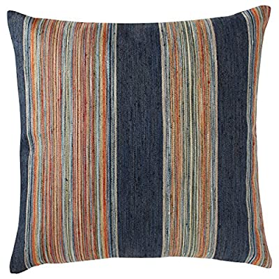 "Rivet Bohemian Stripe Pillow, 17"" x 17"", Ink - This pillow features indigo, aqua, and green with bright accents of orange and red to form vibrant stripes. Slubs in the fabric provide texture. This pillow will refresh your room and is easy to mix and match with other pillows. Striped, textured front and linen-look back Sewn in U.S. cover is durable polyester; inside shell is cotton - living-room-soft-furnishings, living-room, decorative-pillows - 6104gi7EmWL. SS400  -"