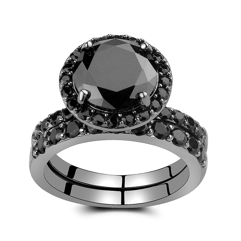 Amazoncom Caperci Black Sterling Silver Round Black Diamond