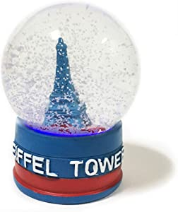Eiffel Tower Decor Snow Globe 4.5 inches tall 75mm Water Globe France Souvenir Figurines with Lighted LED Light Up Dolls Miniature Replica Paris France Landmark Famous Building with Flag Water Ball
