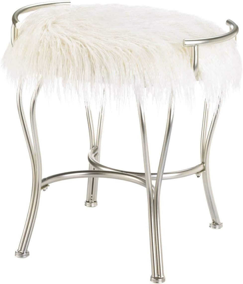 Accent Plus Silver Vanity Stool with White Faux Fur