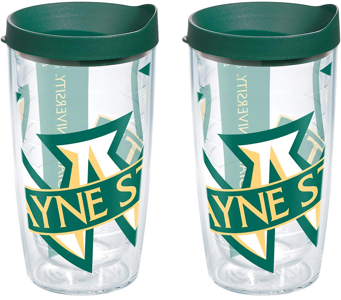 Tervis 1093374 Wayne State Warriors Tumbler with Wrap and Hunter Green Lid 2 Pack 16oz Clear
