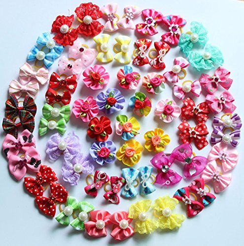 Yagopet 50pcs/pack Cute New Dog Hair Bows Rhinestone Pearls Flowers Topknot Mix Styles Dog Bows Pet Grooming Products Mix Colors Pet Hair Bows Topknot Rubber Bands