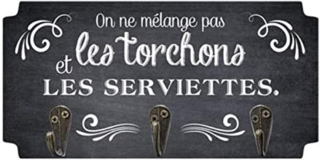 P5300 - Accroche torchons Bois Messages Beige Rouge Fait Maison Les Tr/ésors De Lily 3 accroches 19x10 cm