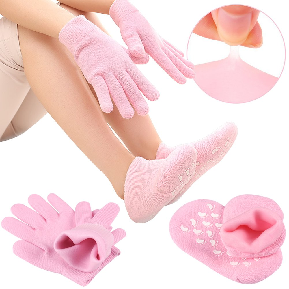 Gel Moisturizing Gloves and Socks Set Spa Repair Heal Eczema Cracked Dry Skin Hands and Feet Hydrating Gel Lining with Essential Oils and Vitamins, Best Gift for Women and Men (pink)