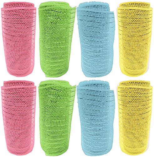 Arrangement Basket Lily (Set of 8 Decorative Mesh Rolls! 4 Assorted Easter Themed Colors! - 6
