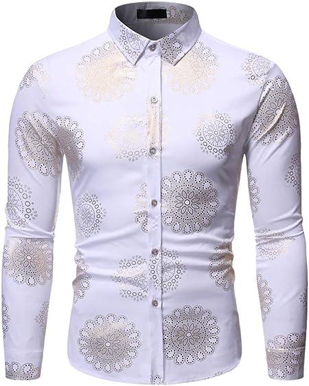 LISILI Camisa De Manga Larga para Hombre Oro Brillante De Flores Impreso Elegante Ajustado Abotonar Partido Camisa Parte Superior,Blanco,M: Amazon.es: Hogar