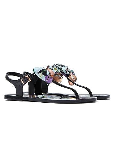 6b3e3a1be2eb Ted Baker Women s Effiey PVC Sandal Entangled Enchantment Black-Black-7
