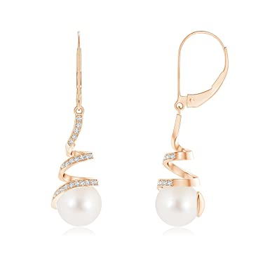 dc98acd445a Amazon.com  Freshwater Cultured Pearl Spiral Ribbon Drop Earrings in 14K  Rose Gold (8mm Freshwater Cultured Pearl)  Jewelry